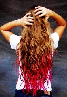 DIY Halloween Hair: DIY Halloween Hairstyles : Punk Glam Red Temporary Dip Dye Hair Chalk