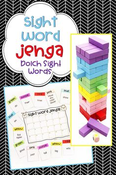Reading/Language Arts Jenga game to practice Dolch Sight Words for Pre-K/Pre-Primer Kindergarten First Grade Second Grade Third Grade and Dolch Noun List. Great for literacy center activity or word work station Literacy Games, Kindergarten Games, Sight Word Activities, Language Activities, Kindergarten Sight Words, Language Arts Games, Kindergarten Language Arts, Preschool Literacy, Teaching Language Arts