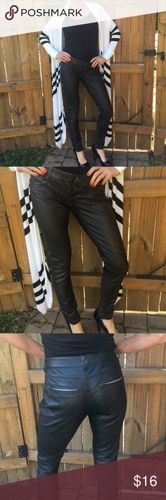 """Material Girl Pants Faux Leather Material Girl - W is 31 1/2"""" and inseam is 28 1/2"""" - 100% viscose Material Girl Pants Skinny"""