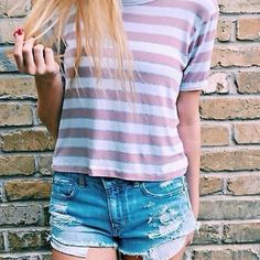 J Galt Brandy Melville Stripe Tee Like New- worn a couple of times but honestly not enough to keep. super soft and comfy! someone love this for me  (wrinkles from being packed) Brandy Melville Tops Tees - Short Sleeve