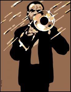 Waldemar Swierzy - Tall Trombone (Fine Art Print / Polish Poster Art)