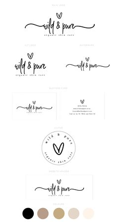 I love this sweet pre-made branding package done recently for Wild & Pure 💕 . Coperate Design, Modern Logo Design, Business Logo Design, Business Branding, Logo Branding, Branding Design, 3d Logo, Corporate Branding, Brand Identity
