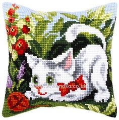 Buy Cat Playing Cushion Front Chunky Cross Stitch Kit Online at www.sewandso.co.uk