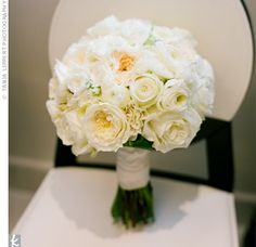 The bridal bouquet will be ivory garden roses, peachy spray roses, white lisianthus with some green buds, and white tulips wrapped in lace from the bride's dress with the stems showing. White Wedding Bouquets, Bride Bouquets, Floral Wedding, Wedding Flowers, Bouquet Wedding, Flower Bouquets, Chrysanthemum Bouquet, Rose Bouquet, Free Wedding