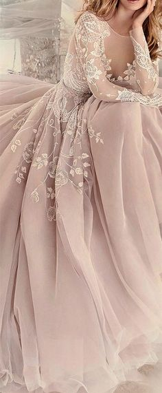 2017 Custom Charming Blush Pink Prom Dress,Embroidery Prom Dress, Long Sleeves Prom Dress,See Through Evening Dress - Wedding Gowns Platform Blush Pink Prom Dresses, Blush Gown, Prom Dresses Long With Sleeves, Formal Dresses, Dress Long, Dress Prom, Sleeved Prom Dress, Pink Dress, Blush Dress With Sleeves