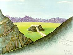 Gondolin and the Vale of Tumladen - JRR Tolkien's original 1928 b/w sketch coloured by H E Riddett, 1978