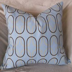 18 inch Decorative pillow cover blue brown throw by ShadoBox, $16.00
