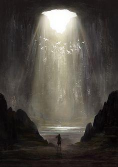 light from above cave illustration artwork Concept Art Landscape, Fantasy Landscape, Fantasy Places, Fantasy World, Fantasy Setting, Fantasy Kunst, Environment Concept Art, Matte Painting, Fantasy Inspiration