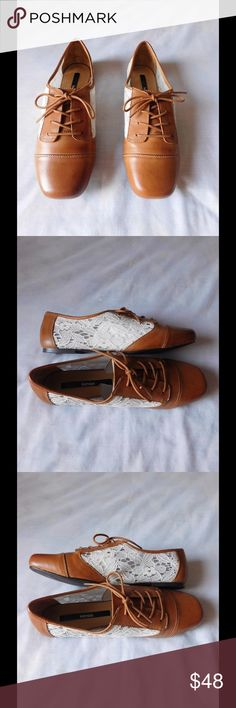 Real Leather & Lace Tan/Cream Oxfords NWOT. These pair of oxfords are really beautiful and adorable. Soft and comfy material. Gorgeous colors and exclusive style. Size 7.5 - Negotiable Price. Kensie Shoes Flats & Loafers