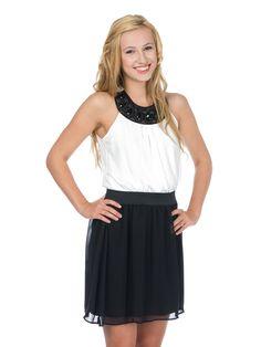 Biało-czarna sukienka z ozdobnym dekoltem - Morgan 225 PLN #sale #limango #zakupy #moda #okazja #fashion