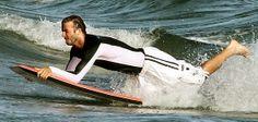 David Beckham goes bodyboarding in Malibu