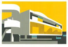 Paul Catherall linocuts exhibition at Paul McPherson Gallery, London - 'Festival II', 2012 Wallpaper Magazine, Magazine Art, Magazine Design, Brainstorm, London Landmarks, Fashion Wallpaper, Wallpaper Art, London Art, Urban Landscape