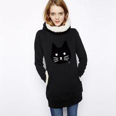 XS-XXL Women Hoodies & Sweatshirts Winter Thickening Warm Cotton Fashion Female Cat Print Big Size Casual Turtleneck Dress #Affiliate