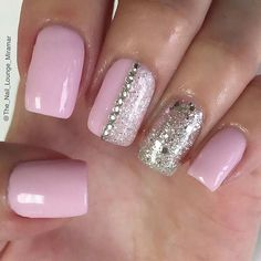 Simple Pink and Silver Nail Design
