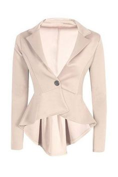 Beige Single Button Blazer with Irregular Hem - US$17.95 -YOINS