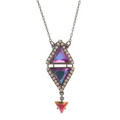 Katy Perry Hematite Pyramid Drop Necklace