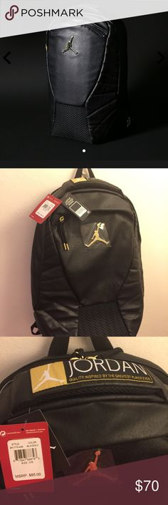 The Jordan Air Jordan 12 Backpack 'The Master' Small Limited Edition run. Leather panels, hard rubber bottom, metallic gold accents. Very Unique. Notice the number 23 stitched into the side.  NWT Air Jordan Bags Backpacks