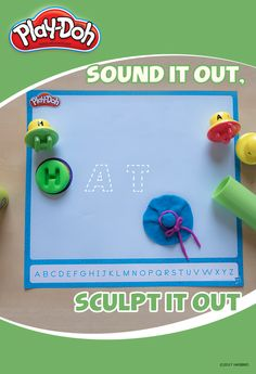 "All this easy activity takes is the Play-Doh Shape and Learn Letters and Language set! Have your kids pick up a random letter, then work with them to sound out a word that starts with that letter. Use the included mat to keep it organized! For example, if they  pick out an ""H"", you might help them find the word ""hat."" Once they've got a word,  sculpt it with the compound!"