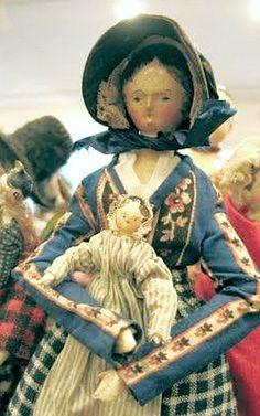 Grodnertal Lady Wooden Peg Doll With Grodnertal Baby.