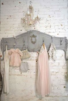 Prairie Chic Coat Rack - made from an old footboard and coat hooks - via The Painted Cottage Studio