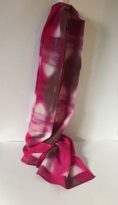 Silk scarf, Itijame, small triangles, fuchsia and grey, silk crepe de chin, 14x72 by DailyHandDyed on Etsy
