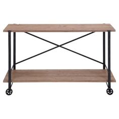 DecMode 55 in. Wood Console Table, Black
