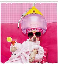Funny Pet Mats for Food and Water by Lunarable, Chihuahua Dog Relaxing and Lying in Wellness Spa Fashion Puppy Comic Print, Rectangle Non-Slip Rubber Mat for Dogs and Cats, Magenta Baby Pink -- Check out this great product. (This is an affiliate link) Grooming Shop, Dog Grooming, Funny Throw Pillows, Funny Sunglasses, Dog Spa, Wellness Spa, Wellness Center, Chihuahua Love, Pet Mat