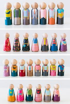 Minifolk are the perfect toy for your little ones. Easy to hold, play, and imagine–they are stylish, printable clothing for classic peg dolls so that you can quickly dress up a whole crowd of characters! Simply print the outfits, cut them out, and Mod Podge them to wooden peg dolls.