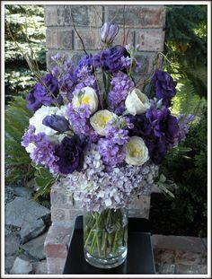 purple & lavender hydrangea, lisianthus and stock, cream garden roses