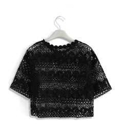 Chicwish Flowers Calling Crochet Smock Top in Black (160 PLN) ❤ liked on Polyvore featuring tops, black, cami crop top, cami top, flower print crop top, smock tops and crochet top