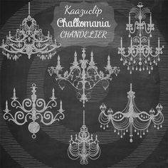 Chalk Chandelier Collection by Kaazuclip on Creative Market