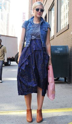 little denim vest. perfectly styled tee over dress.