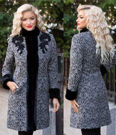 Palton LaDonna gri cu insertii si blanita High Neck Dress, Dresses With Sleeves, My Style, Long Sleeve, Sweaters, Fashion, Turtleneck Dress, Moda, Full Sleeves