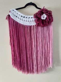 Go boho with this pretty fringe skirt or accent belt. Flower Hats, Pink Flowers, Campaign, Medium, Trending Outfits, Unique Jewelry, Handmade Gifts, How To Wear, Etsy