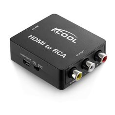 KCOOL HDMI to RCA AV Component Converter Adapter 1080P Supporting PAL/NTSC with USB Charge Cable for PC Laptop Roku Xbox PS3 PS4 TV STB VHS VCR Camera DVD-Black