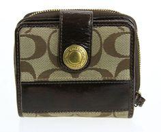 Coach Beige Signature Jacquard Brown Patent Leather Trim Bifold Wallet #Coach #Bifold