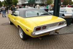 1973 Dodge Challenger in Top Banana Yellow - this one is just like my first car, The Rhythm Machine.