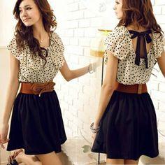 nova primavera 2014 moda verão das mulheres chiffon um- pedaço vestido curto- manga cintura dot vestido casual US $8.86
