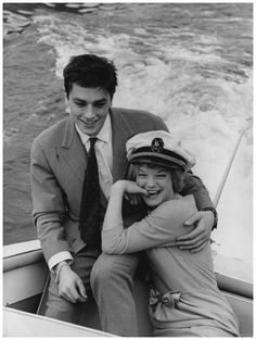 Alain Delon with his fiancee, Romy Schneider take a boat trip on Lake Lugano, Italy, 25th March 1959.