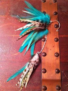 Feather Ear Cuff, Ear Wrap with Chain - Aqua Angel Feather Jewelry, Feather Earrings, Ear Cuffs, Types Of Feathers, Feather Extensions, Cluster, Tribal Fusion, Native American Fashion, Cuff Earrings
