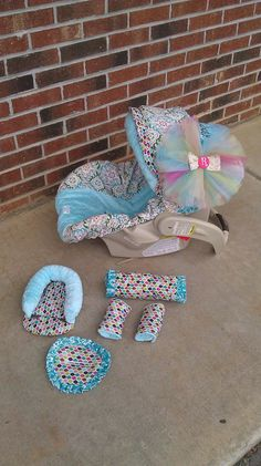 Carseat cover - teal and colorful!, love the tulle puff I'm making one for mine! Pheonix Marie, Baby Must Haves, Everything Baby, Cool Baby Stuff, Baby Accessories, Baby Fever, Future Baby, Baby Items, Baby Room