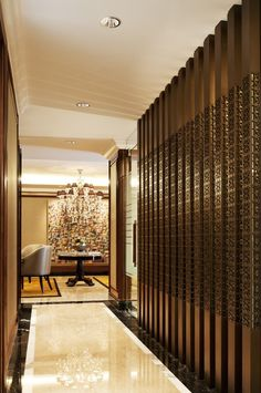 Corridor with bespoke timber screen