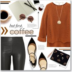 Coffee Break! by lilymillyrose on Polyvore featuring WithChic, By Malene Birger, Christian Louboutin, Angela Valentine Handbags, Givenchy, too cool for school and Moleskine