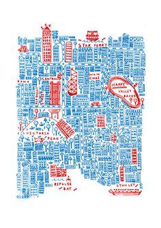 Steph Marshall - Map of Hong Kong Map Design, Travel Design, Travel Illustration, Graphic Design Illustration, Draw Map, Atelier Theme, Hong Kong Art, Hongkong, City Maps