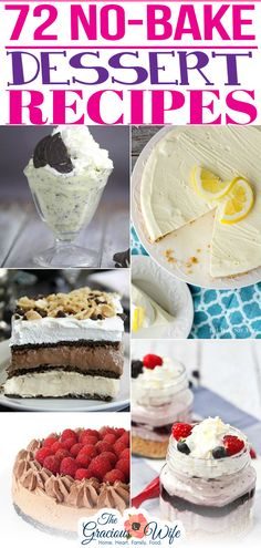 Satisfy your sweet tooth without the oven with these 72 quick, easy, and scrumptious No Bake Dessert recipes that everyone will love. With the weather as hot and humid as it has been lately, even here in the temperate Midwest, I've been trying my hardest to leave my oven OFF. Which means we've been improvising in the way of baked goods. But never fear! | @graciouswife #summernobakedesserts #bestnobakedesserts #4thofjulynobakedesserts Easy No Bake Desserts, Fun Desserts, Delicious Desserts, Fun Baking Recipes, Best Dessert Recipes, Fourth Of July Food, Holiday Desserts, Frozen Treats, Baked Goods