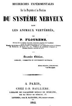 Recherches expérimentales sur les propriétés et les fonctions du système nerveux dans les animaux vertébrés, Pierre-Marie Flourens (1794-1867), 1842. Voir : http://www.pinterest.com/pin/287386019945159029/