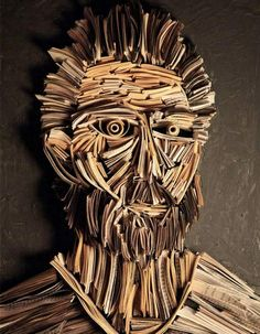 paper strip art | Could use paper/thin cardboard strips to create 3-d portraits