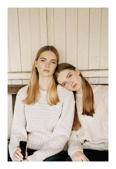 """Sweather weather """"Field Day,"""" featuring Ruth and May Bell, photographed by Letty Schmiterlow for Topshop New Season Zine 2013."""