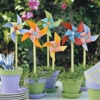 Pinwheels in flower pots centerpiece