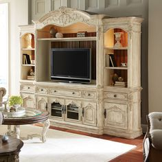 Jessica McClintock-Boutique Collection Entertainment Center - White Veil - Console and Hutch with Piers - $6305 @hayneedle
